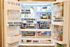 See ideas for how you can create an effective refrigerator organization system for a French door fridge; includes ways to organize a bottom freezer, inexpensive containers that work, and space saving methods for maximizing each shelf. Freezer Organization, Refrigerator Organization, Kitchen Organization Pantry, Organization Hacks, Organizing Tips, Organize Fridge, Organized Kitchen, Fridge Drawers, Bottom Freezer Refrigerator