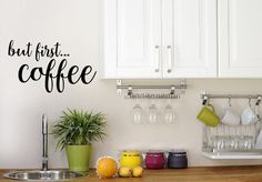 But First Coffee Decal Kitchen Decor  Coffee Decor by NewYorkVinyl