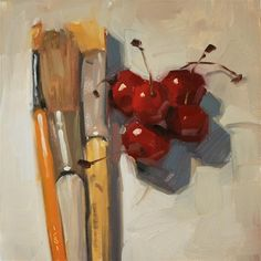 """Painting Cherries - SOLD"" - Original Fine Art for Sale - © Carol Marine"