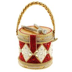 MARY FRANCES Don't Miss a Beat Beaded Holiday Drum Top-Handle Handbag