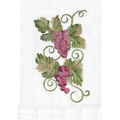 Finely detailed embroidered thread paintings for which Anali is so well known. The Vintage embroidered design is available on natural white linen guest towels.