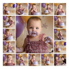 square cake smash expressions collage of one year old girl in lace romper with purple cake and gold backdrop in Quakertown Bucks County PA | Sweet Memories Photos by Carolyn