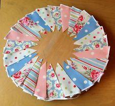 Handmade Bunting using Cath Kidston Oilcloth Fabrics - 24 FLAGS