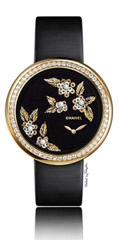 Chanel ~ Black Face Timepiece w Diamonds
