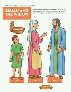 Old Testament Scripture Figures: Elijah and the Widow Preschool Bible Lessons, Bible Lessons For Kids, Bible Activities, Bible For Kids, Bible Story Crafts, Bible School Crafts, Bible Stories, Elijah And The Widow, Flannel Board Stories