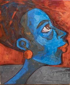 Jimnah Kimani- Blue - Oil on canvas - 81 x 65 cm African Artists, Oil On Canvas, Contemporary Art, Art Gallery, Artwork, Blue, Art Museum, Work Of Art, Auguste Rodin Artwork