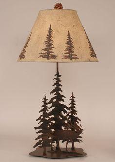 Iron Pine Trees w/Elk Table Lamp