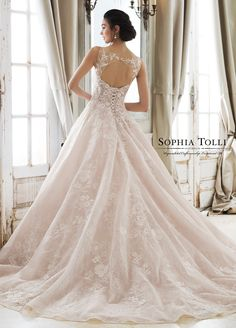 Sophia Tolli APHRODITE wedding dress from Mon Cheri Bridals. This romantic allover organza lace ball gown features an illusion bateau neckline and a semi-sheer keyhole back. Sophia Tolli Wedding Gowns, Mon Cheri Wedding Dresses, Western Wedding Dresses, Black Wedding Dresses, Princess Wedding Dresses, Bridal Dresses, Gown Wedding, Lace Ball Gowns, Ball Gown Dresses