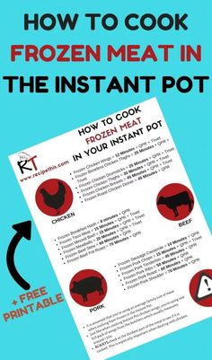 How To Cook Frozen Meat In The Instant Pot Pressure Cooker+ Free Printable. How to cook frozen meat in the Instant Pot Pressure Cooker including a free printable. Place the free Instant Pot printable onto your… Instant Pot Pressure Cooker, Pressure Cooker Recipes, Pressure Cooking, Cooking For Two, Fun Cooking, Cooking Games, Cooking Twine, Cooking Fish, Camping Cooking