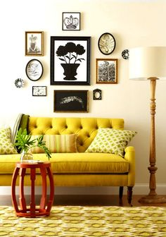 Eclectic Interior Inspiration - bright yellow couch, black and white frames. My Living Room, Living Room Decor, Living Spaces, Cozy Living, Yellow Couch, Green Sofa, Pink Sofa, Yellow Rug, Yellow Walls