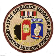 "ARMY 173RD AIRBORNE OEF OPERATION ENDURING FREEDOM 4"" EMBROIDERED MILITARY PATCH"