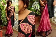 Pink and black half and half saree by Zari