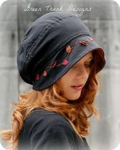 slouch hat from 2 recycled t-shirts - Google Search Funky Hats, Cool Hats, Hand Sewn, Recycled T Shirts, Cloche Hat, Hat Making, Headgear, Bandeau, Headdress