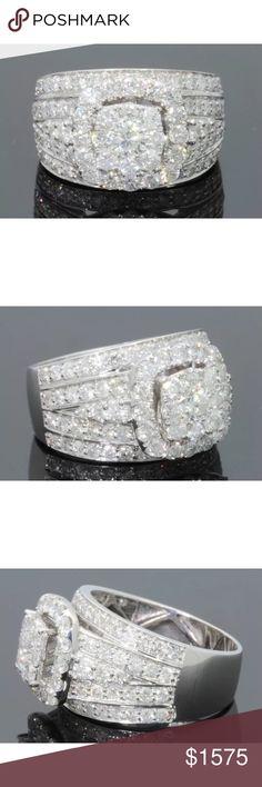3 carat 10k white gold diamond cluster ring 3 carat 10k white gold diamond cluster ring! Retail over $4000!!! High quality diamonds! Jewelry Rings