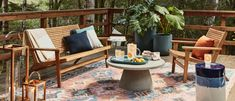 Live outdoors! Take your outdoor space to the next level with an indoor/outdoor rug, plenty of inviting seating (here, our well-priced Acadia Lounge Set) and a large coffee table. Don't forget finishing touches like outdoor throw pillows, side tables, planters and lanterns for all the comforts of home.