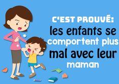 les enfants se comportent plus mal avec leur maman-min Education Positive, Kids And Parenting, Family Guy, Positivity, Sang, Voici, Massage, Interior, Decor