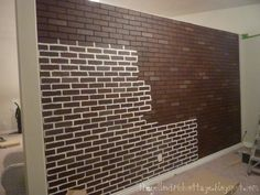 "poured basement painted to look like brick | ... how I wanted to paint the ""brick"" on some extra pieces of paneling"