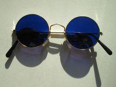 Sonnenbrille 70er Stil Blau Siebzger Hippie Goa Brille Retro Vintage 70s Neu c67d9b81dfae