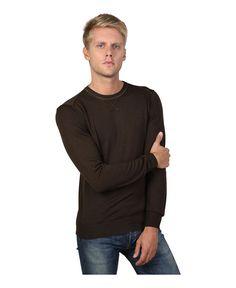 Trussardi jeans - abbigliamento uomo - girocollo, slim fit - composizione: 100% lana - lavare 30°c - Maglie uomo 52m28 Marrone
