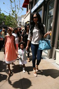 Kimora Lee Simmons takes the kids to Easter events at The Grove!