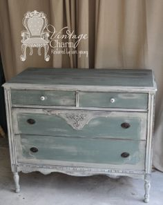 Vintage Charm Restored milk paint buffet _MMS Ironstone and OFMP Sea Green