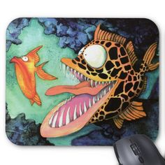 """Dangerous Waters"" Fish Watercolor Mike Quinn Mouse Pad"