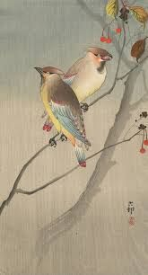 "art-nimals: ""Ohara Koson, Two Japanese Waxwings in Autumn, circa 1900 - 1920 "" Illustrations, Illustration Art, Botanical Illustration, Ohara Koson, Korean Art, Japanese Painting, China Painting, Japanese Prints, Japan Art"