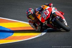 Lean in. Marc Marquez during Friday practice at Valenca. Photo by Scott Jones, 2013.