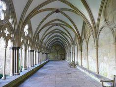 Salisbury, England Cathedral cloister corridor
