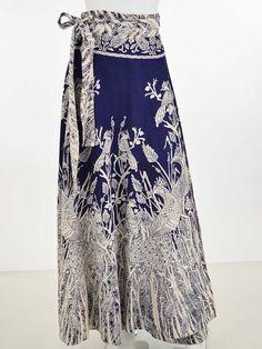 28b4100b332 70s 1970s Peacock Print Maxi Wrap Skirt Boho Festival Wear - Blue Velvet  Vintage Festival Skirts