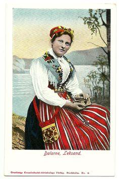 Sweden postcard WOMAN Folk Costume Leksand early 1900s unused