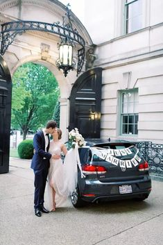Couple With Just Married Car Decorations Wedding Story, Wedding Tips, Wedding Day, Romantic Things, Most Romantic, Just Married Sign, Wedding Transportation, Two Best Friends, Real Weddings