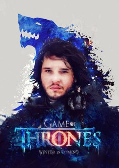 A poster print and digital painting from the hit TV series Game of Thrones, this one features John Snow and is 'Winter is coming'' in our series. Game of Thrones 'Winter is coming' Game Of Thrones Artwork, Game Of Thrones Poster, Game Of Thrones Fans, Game Of Thrones Characters, Jon Snow, Welcome To The Game, Daenerys Targaryen, Book Series, Winter Is Coming