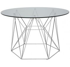 The Kayt Round Dining Table is a stellar honorable mention. The architectural chrome base on this table is perfect suited for a contemporary dining area. The geometric angles provide structure, while still giving it a light look. Metal Dining Table, Modern Dining Table, Best Dining, Round Dining, Glass Table, Dining Tables, Dining Room, Outdoor Dining, Dining Area
