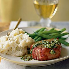 Argentinean Oak-Planked Beef Tenderloin with Chimichurri Sauce - Grilled Beef Recipes - Cooking Light