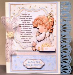 COMMUNION GIRL PRAYER Card Topper Decoupage on Craftsuprint designed by Janet Briggs - made by Kristina Norbat - Printed on good quality photo paper cutout and layered onto a white card and attached a blue punched out border I then added a organzer bow with pearl button to complete this beautiful design. - Now available for download!