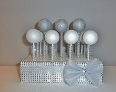 gray bow silver faux rhinestone bling cake pop stand stick white wedding candy table display baby shower baptism christening anniversary