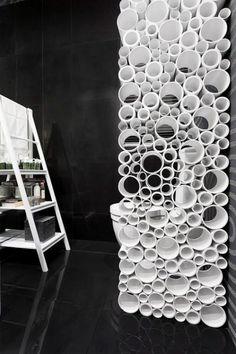 contemporary room divider in bathroom
