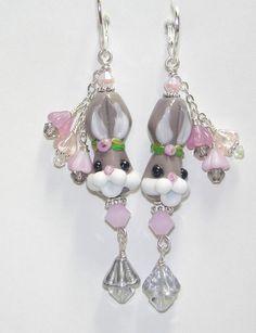 easter+earrings | Easter Bunny Artisan Lampwork Glass Bead Sterling Easter Earrings