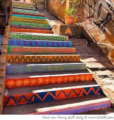 southwestern painted stairs
