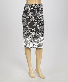Look what I found on #zulily! Black & White Floral Pencil Skirt - Women by Bellino #zulilyfinds - Soooo versatile!