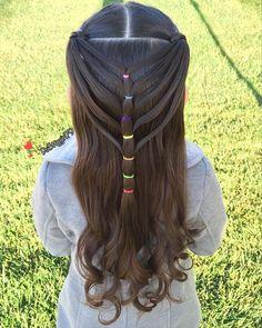 Half up elastic mermaid heart braid ❤️ #pr3ttyhairstyles #braidsforlittlegirls #pr3ttyheartstyles
