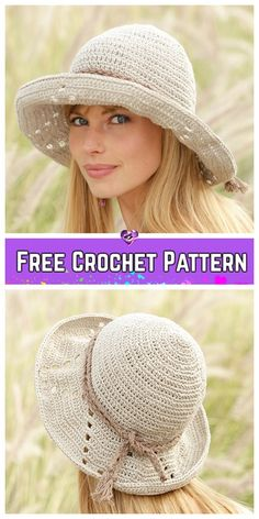 Crochet Hat Crochet Vintage Summer Sun Hat Free Crochet Patterns for Ladies - Crochet Vintage Summer Sun Hat Free Crochet Patterns for Ladies Bonnet Crochet, Crochet Beanie, Knitted Hats, Crotchet, Girl Crochet Hat, Crochet Hat For Women, Crochet Scarves, Crochet Clothes, Crochet Crafts