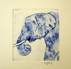 Blue Elephant Print. Original Collograph Elephant. Blue Elephant Original Art.  Animal Print. Fine Art Print. Nursery Print. $16.00, via Etsy by Maggie Goodwin