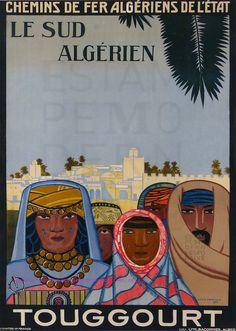 LOUIS FERNEZ 1930 CHEMIN DE FER  ALGEGIENS DE L ETAT LE SUD ALGERIEN TOUGGOURT 74X104 BACONNIER