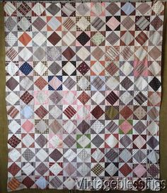 "Civil War FABRIC LOVERS Dream QUILT TOP 80"" x 66"" Antique c1860-1880"
