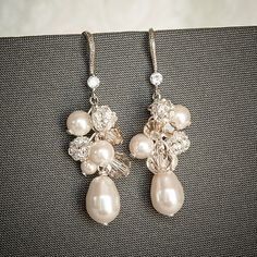 Pearl Cluster Wedding Earrings, Swarovski Crystal and Pearl Bridal Earrings, Teardrop Dangle Statement Earrings, Wedding Jewelry, DELLA