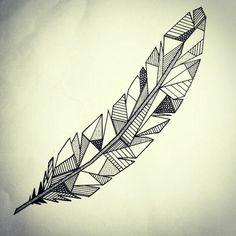 Plume tattoo géométrique