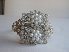 Etsy.com - Pearl and rhinestone cuff bracelet Couture pearl by 2007musarra
