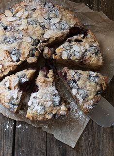 This delicious and moist Cherry Almond Coffee Cake starts with sweet cherries (frozen or fresh) and is lightly sweet, so it's perfect to enjoy any time of day! Cherry And Almond Cake, Almond Cakes, Just Desserts, Dessert Recipes, Breakfast Recipes, Cake Boss Recipes, Cherry Recipes, Almond Cream, Sweet Cherries